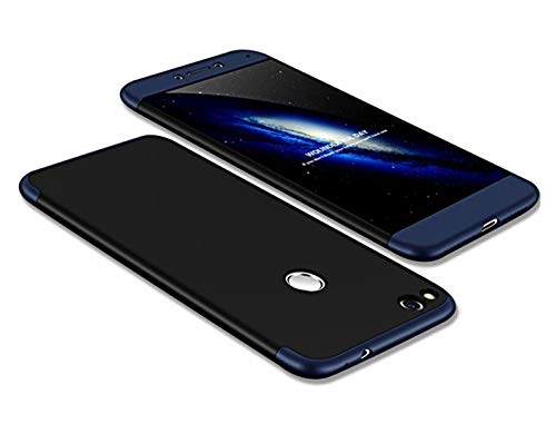 DECHYI compatibles para Funda Huawei P8 Lite 2017,Cubierta + Cristal Templado Matte Ultra Slim PC Hard-Cubierta Cover Azul+Negro