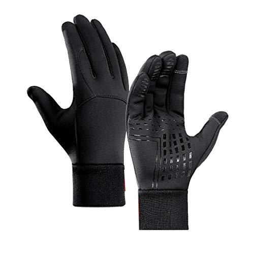 Momolaa Winterhandschuhe Touchscreen Handschuhe, Warm Fahrradhandschuhe Unisex, Wasserdicht, Winddicht & Rutschfest Sporthandschuhe für Laufen, Ski, Klettern u.s.w. (Schwarz, L)