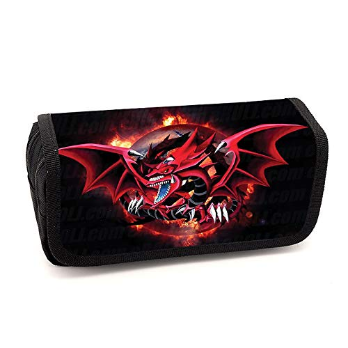 Yu-Gi-Oh Pencil Cases Canvas 3D Printing Pen Pencil Cases Makeup Bags with Double Zippers for School Students Kids (Color : A02, Size : 20 X 10 X 7cm)