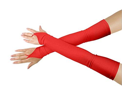 lucky baby store Mädchen 'Boys' Erwachsene Halloween Make-Up Fingerlose Über Elbow Cosplay Kostüm Handschuhe (red)
