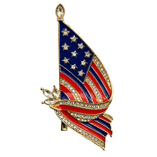 Amosfun Broche de bandera nacional de Estados Unidos, diseño creativo, aleación de estrás, broche para solapa, joyería de disfraz americano, decoración de fiesta