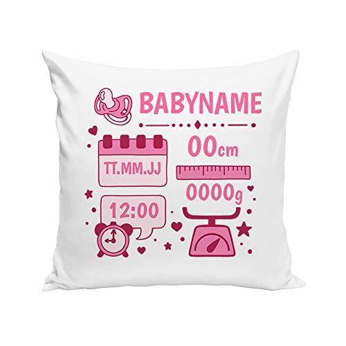shirtdepartment Dekokissen - Personalisiertes Geschenk zur Geburt (Weiss-rosa)