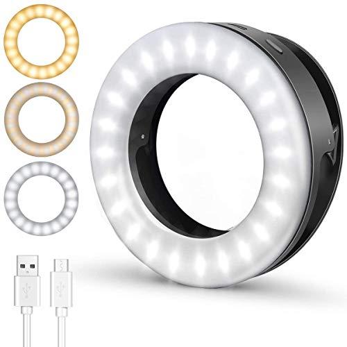 ELEGIANT SelfieRingLight, Clip-on Selfie Light with 40 LED & 4 LightModes RechargeablePortable Circle Light for Phone Laptop iPad YouTube Vlogging TikTok Photography VideoMakeup(Black)