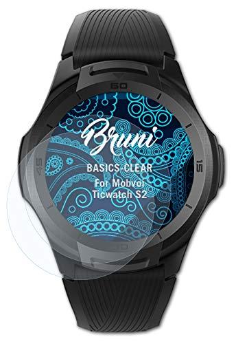 Bruni Schutzfolie kompatibel mit Mobvoi Ticwatch S2 Folie, glasklare Bildschirmschutzfolie (2X)