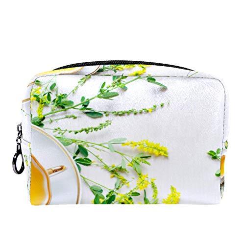 Cosmetic Bag Travel Toiletry for Women Daily Portable Zipper Closure Makeup Bag,Natural Herbal Sweet-Clover Tea