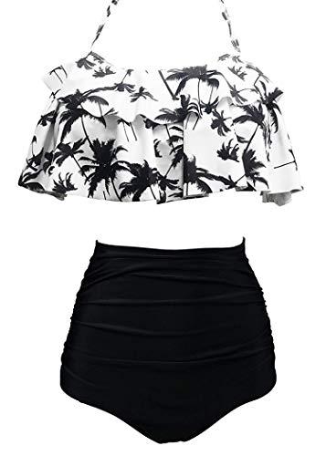 AOQUSSQOA Damen Badeanzug Rüschen Hals Hängen Bikini Sets Zweiteilige Bademode mit Hoher Taille Strandkleidung (EU 34-36 (S),Schwarze Kokosnuss)