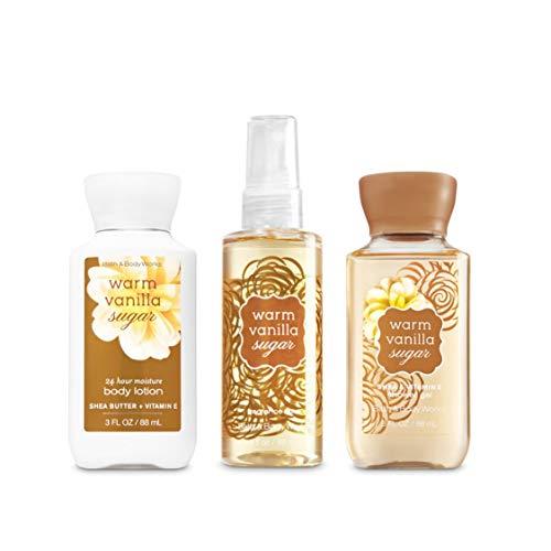 Bath & Body Works Warm Vanilla Sugar Lotion 3 Oz. Warm Vanilla Sugar Gel 3 Oz. & Warm Vanilla Sugar Mist 3 Oz. Mini Travel Set by Bath & Body Works