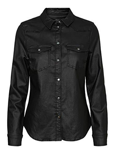 VERO MODA Damen VMMARIA LS Slim Coated Shirt GA Color Bluse, Black/AOP:Coated, M