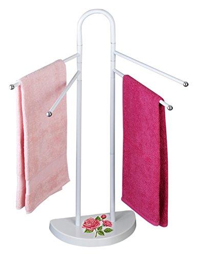 WENKO 76231500 Handtuchständer Rosen-Romantik, Kleiderständer, Stahl, 33 x 94 x 18 cm, Mehrfarbig