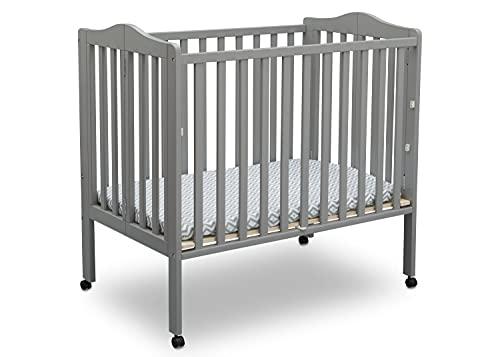 Delta Children Folding Portable Mini Baby Crib with 1.5-inch Mattress, Grey