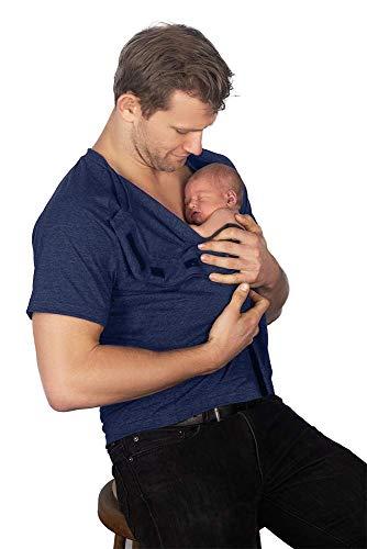 DadWare Bondaroo Skin to Skin Kangaroo Care Bonding camiseta para New Dad, Azul marinho, S