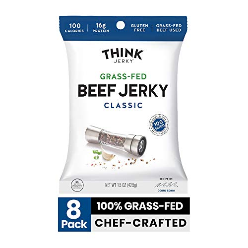 Classic Beef Jerky by Think Jerky — Delicious Chef Crafted Jerky — Grass-Fed Beef Free of Gluten, Antibiotics and Nitrates — Healthy Protein Snack Low in Calories, Fat and Salt — 1.5 Ounce (8 Pack)