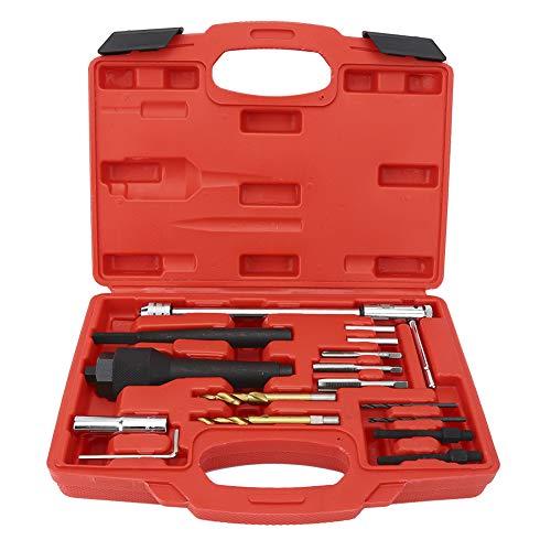 Herramienta de eliminación de bujías incandescentes, 16 piezas Kit de herramientas de eliminación de bujías incandescentes Extractor Extractor Herramienta de reparación 1/4in-28 UNF M10xP10 M8x1.0