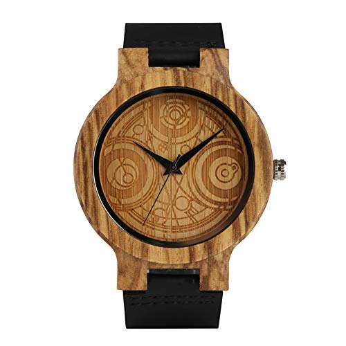 Relojes de madera de lujo de cuero genuino para adolescentes reloj de pulsera de madera creativo para niño