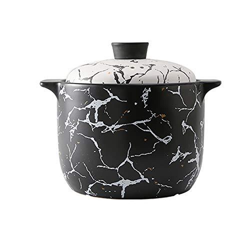 Xnxn Marmite en céramique à Motif Rond, cocotte en céramique Profonde avec Couvercle, Pot en Terre Cuite Pot en Terre Cuite Noir 5L