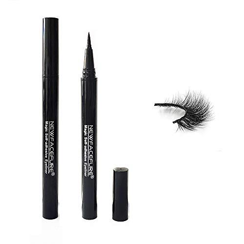 Black Magic Eyeliner, New Liquid Self Adhesive Eyelashes Eye Liner Pen, Best Waterproof 2 in 1 Eye Liner for Eye Makeup and Wear Normal False Eyelashes(black)