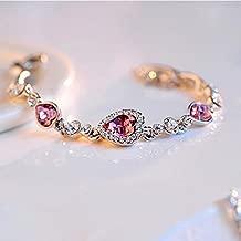 Charming Women's Austrian Crystal Titanic Inspired Heart of Ocean Bangle Bracelet (Rose)