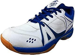 Port Men's Activa White PU Badminton Shoes for Men