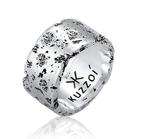 Kuzzoi Herrenring (12.5 mm) Massiv Handgeschmiedet, Bandring für Männer aus 925 Sterling Silber, Silberring gehämmert oxidiert, Ring im Rustikal Look, Ringgröße 66, 0602552120_66