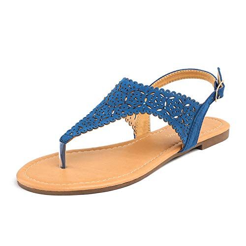 small COUPLE OF DREAMS Mediney Ladies Casual Navy Blue Rhinestone Flat Sandals Size 8