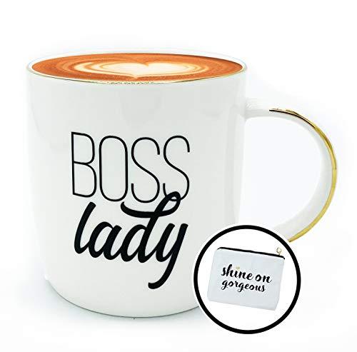 Gifffted Boss Lady Geschenke für Chefin zu Weihnachten | Geburtstag | Weibliche Chef Geschenk | Mama | Freundin | Schwester | Boss | Muttertag | Frauen - Kaffeetasse/Tasse 380ml und Canvas Beutel