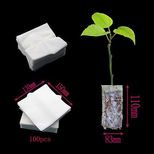 Tyfocus 100 pcs biodégradable Pot de fleurs non tissé Sacs Sacs de chambre d'enfant, chambre d'enfant outils Pots Jardin de Transplantation Culture Sacs 14 * 15 cm