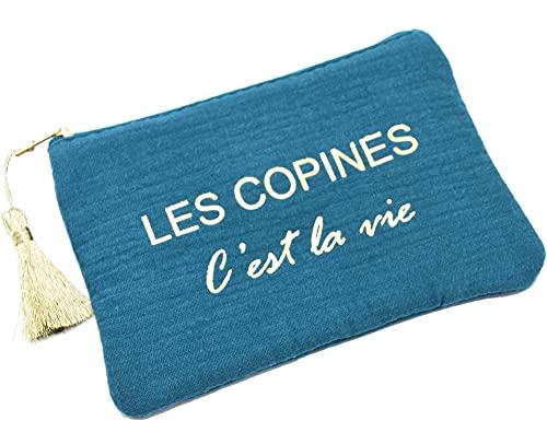 Oh My Shop ATM147 - Trousse Pochette Coton Bleu Canard Message Les Copines C'est La Vie Pompon Doré