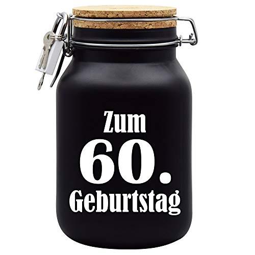 Salvadanaio per il 60° compleanno, idea regalo, colore nero, XL