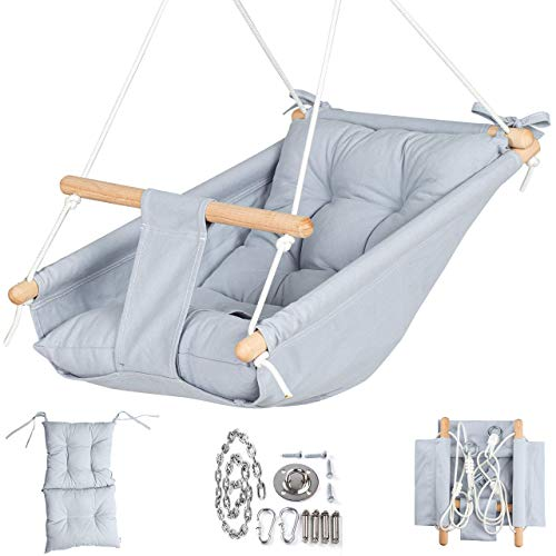 Canvas Baby Hammock Swing by Cateam - Gray - Wooden Hanging Swing Seat Chair for Baby with 5-Point Safety Belt and mounting Hardware. Baby Hammock Chair Birthday Gift.