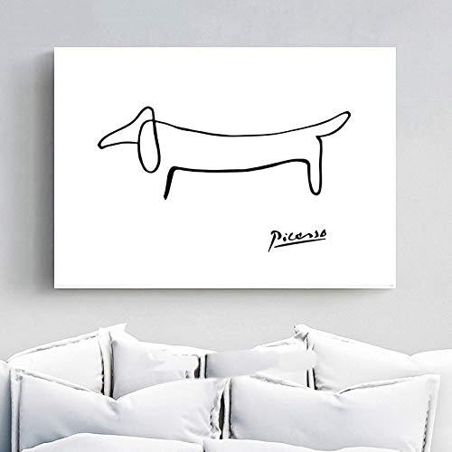 SSWD Picasso Abstrakte Bild One Stroke Nordic Poster Wand Bilder Leinwand Hund Poster, Hund Leinwand Malerei Schlafzimmer Wohnkultur Wohnzimmer Ungerahmt Wohnzimmer (50x70cm)
