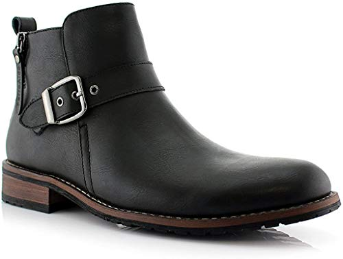 Ferro Aldo Mens Casual Mens Casual Engineer Zipper and Buckle Motorcycle Boots - Black, Size 10