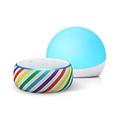 Bundle includes the all-new Echo Dot Kids Edition and an Echo Glow Multicolor Smart Lamp. Let them explore on their own - Not a toy, this smart speaker lets kids ask Alexa to play music, hear stories, call approved friends and family, and explore kid...