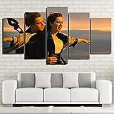 YFTNIPL Gxucoa 5 Pezzi Stampa su Tela in TNT XXL Immagini Titanic Kate Winslet E Leonardo Dicaprio - Film Moderni Murale Fotografia Grafica Decorazione da Parete Regalo