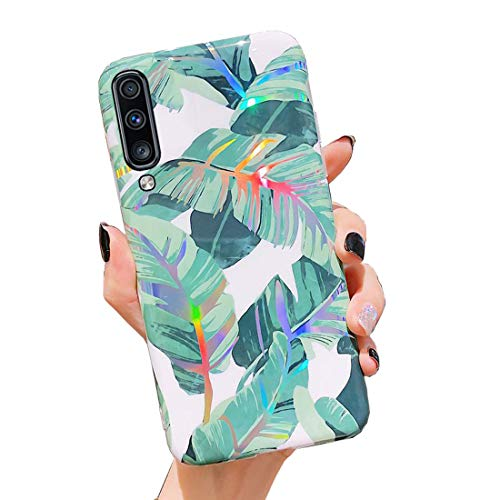 Galaxy A50 Case,Duolaa Samsung A50 Protective Cover Phone Case for Women Girls Glitter Bling Slim Fit Shockproof Soft Flexible Silicone Rubber Clear TPU Bumper Case for Samsung Galaxy A50-Banana Leaf