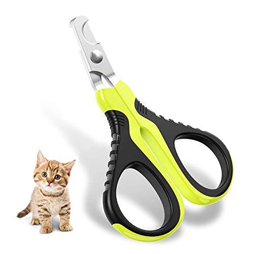 DreamCat Cat Nail Clippers Professional Cat Nail,Best Stainless Steel Cat Claw Toenail Trimmer with Pet Safety Guard & Lock and Special Curve Radian,Essential Grooming Tool for Small Pet(Curved Blade)