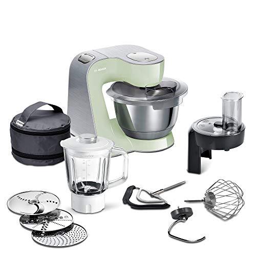 Bosch MUM5 CreationLine Premium Küchenmaschine MUM58MG60, vielseitig einsetzbar, große Edelstahl-Schüssel (3,9l), Profi-Patisserie-Set, Durchlaufschnitzler, Glasmixer, 1000 W, mint/silber