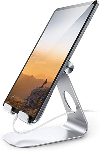 Tablet Stand Adjustable, Lamicall Tablet Stand : Desktop Stand Holder Dock Compatible with Tablet Such as iPad Pro 9.7, 10.5, 12.9 Air Mini 4 3 2, Kindle, Nexus, Tab, E-Reader (4-13') - Silver