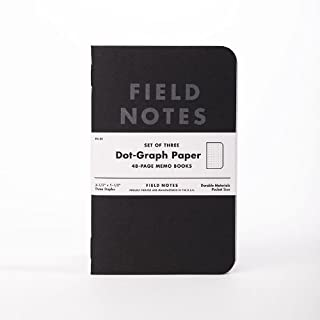 Field Notes Pitch Black Dot Grid Memo Books, 3-Pack (3.5x5.5-Inch)