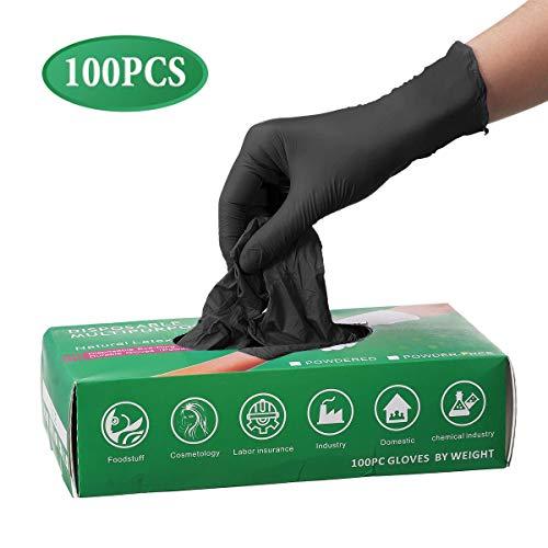 Puomes Einmalhandschuhe aus Nitril, 100 Stück, zum Schutz der Hände zu Hause, Schutzhandschuhe für die Reinigung der Küche, Tattoos, Künstler, Schönheit, Industrie., L, Schwarz , 100
