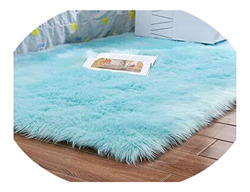 Artificial Wool Carpet Rectangle/Square Garnish Faux Mat Seat Pad Plain Skin Fur Plain Fluffy Area Rugs Washable Home,Light Blue,70x180cm