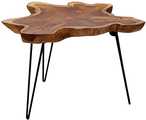 Brillibrum B-Ware Design Couchtisch Teak Tischplatte massiv aus Teakholz Klapptisch auf einem Metallgestell Tekoholz Wohnzimmertisch Unikat Holz Beistelltisch Einzigartig