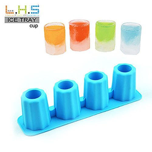 Litetao Clearance 4-Cup Ice Cube Shot Shape Rubber Shooters Glass Freeze Mold Maker Tray Party, Stackable Miniature Ice Cube Tray for Mini Fridges, Dorm Freezers and Small Freezers (Blue)