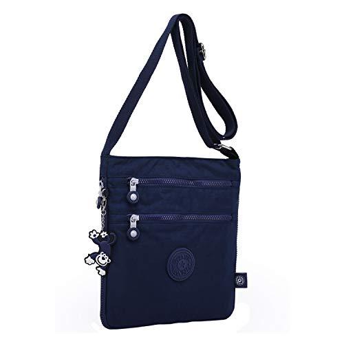 Foino Umhängetasche Damen Schultertasche Mode Kuriertasche Vintage Handtasche Lässige Taschen Reisetasche Leicht Strandtasche Sporttasche für Mädchen Büchertasche Design Messenger Bag (Blau One)