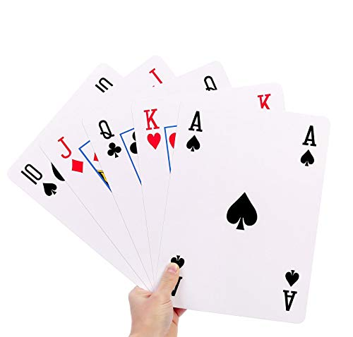 GrassVillage A4 Jumbo Giant Plastic Coated Playing Cards Deck Family Party...