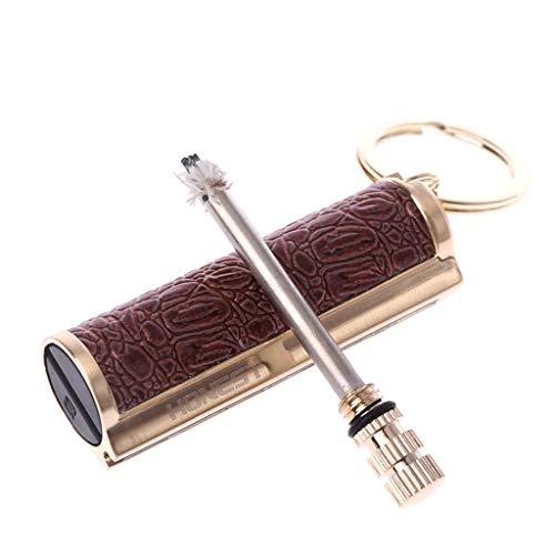 Xuniu Keychain Permanent Metal Feuerzeug Gift Schlüsselanhänger Golden Creative Geschenke Edelstahl Match Feuerzeuge 1,8x1,6x5,5cm