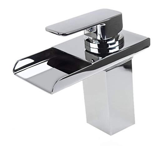 LED-Badezimmer-Wasserfall-Wannen-Hahn, 3 Farbwechsel, Einhand-Waschraum-Waschtischmischer Armaturen for Badezimmer