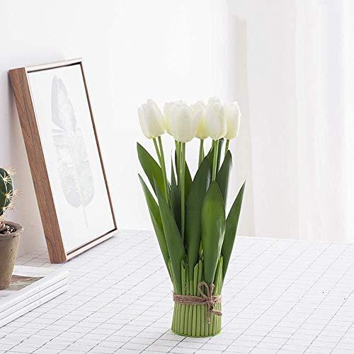 yueyue947 / Tulipanes Artificiales Flores Tulipanes de Seda en macetas para la decoración del hogar del Partido- Blanco