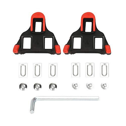 Beststar 81539 - Juego de Tacos de Bicicleta con Pedales de Ciclismo con Cierre automático, para Interior y Bicicleta, Compatible con Zapatos Shimano y Look, Rojo