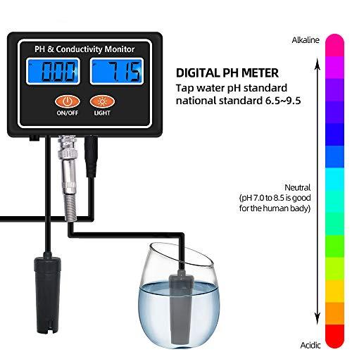 JSX Wasser-Tester, 2 in 1 Online PH & EC Leitfähigkeit-Monitor-Metern Prüfvorrichtung ATC Wasserqualität in Echtzeit Kontinuierliche Überwachung Pool