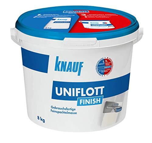 Knauf 129801 Uniflott Finish Gipsspachtel End-Verspachtelung von Gipsplattten-Fugen, 8 kg – Spachtel, Feinspachtel-Masse gebrauchsfertig, weiß